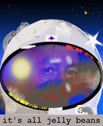 Illustrated portrait of an astronaut wearing a spacesuit helmet