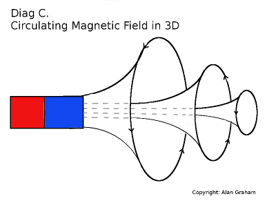 Both magnetic field vortices at either pole have a rotational force which wraps around the magnet becoming one large cocoon field.
