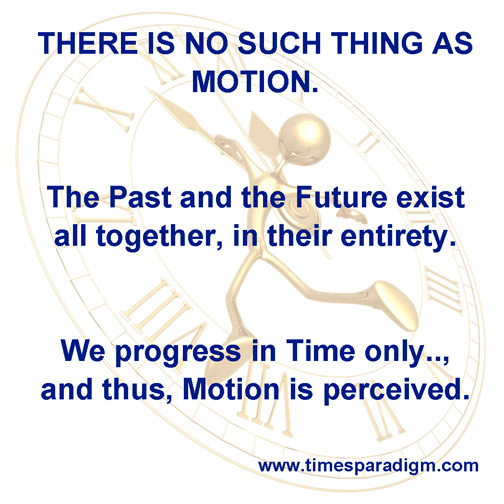 Illustrated meme captioned: We progress in time only and thus motion is perceived